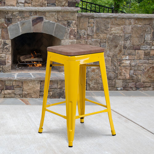 """Our 24"""" High Backless Yellow Metal Counter Height Stool with Square Wood Seat is on sale now."""