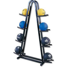 Powder Coated Steel Double Medicine Ball Rack - Black