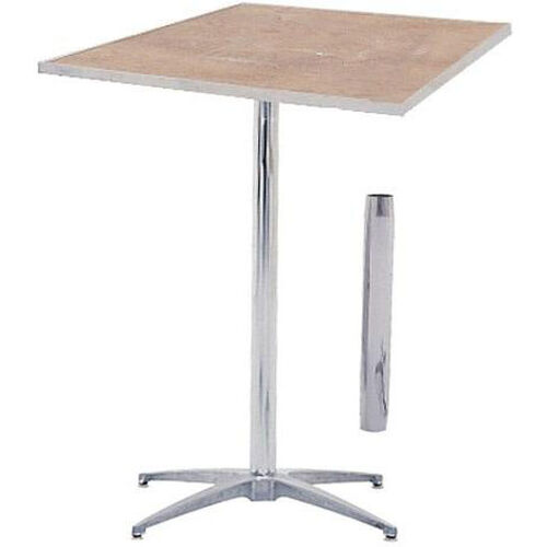 Our Standard Series Square Pedestal Table with Inter-Changeable Columns, Chrome Plated Steel Column, and Plywood Top - 36