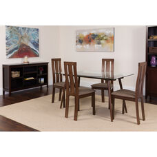 Lindsay 5 Piece Espresso Wood Dining Table Set with Glass Top and Vertical Wide Slat Back Wood Dining Chairs - Padded Seats