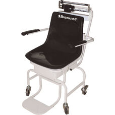 Durable White Steel Chair Scale with Locking Rear Wheels - 440 lb Capacity