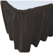 Wave 21 Foot Shirred Pleat Table Skirt with SnugTight™ Clips - Black