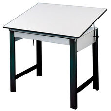 DesignMaster Black Steel Frame Angled Melamine White Top Table - 60