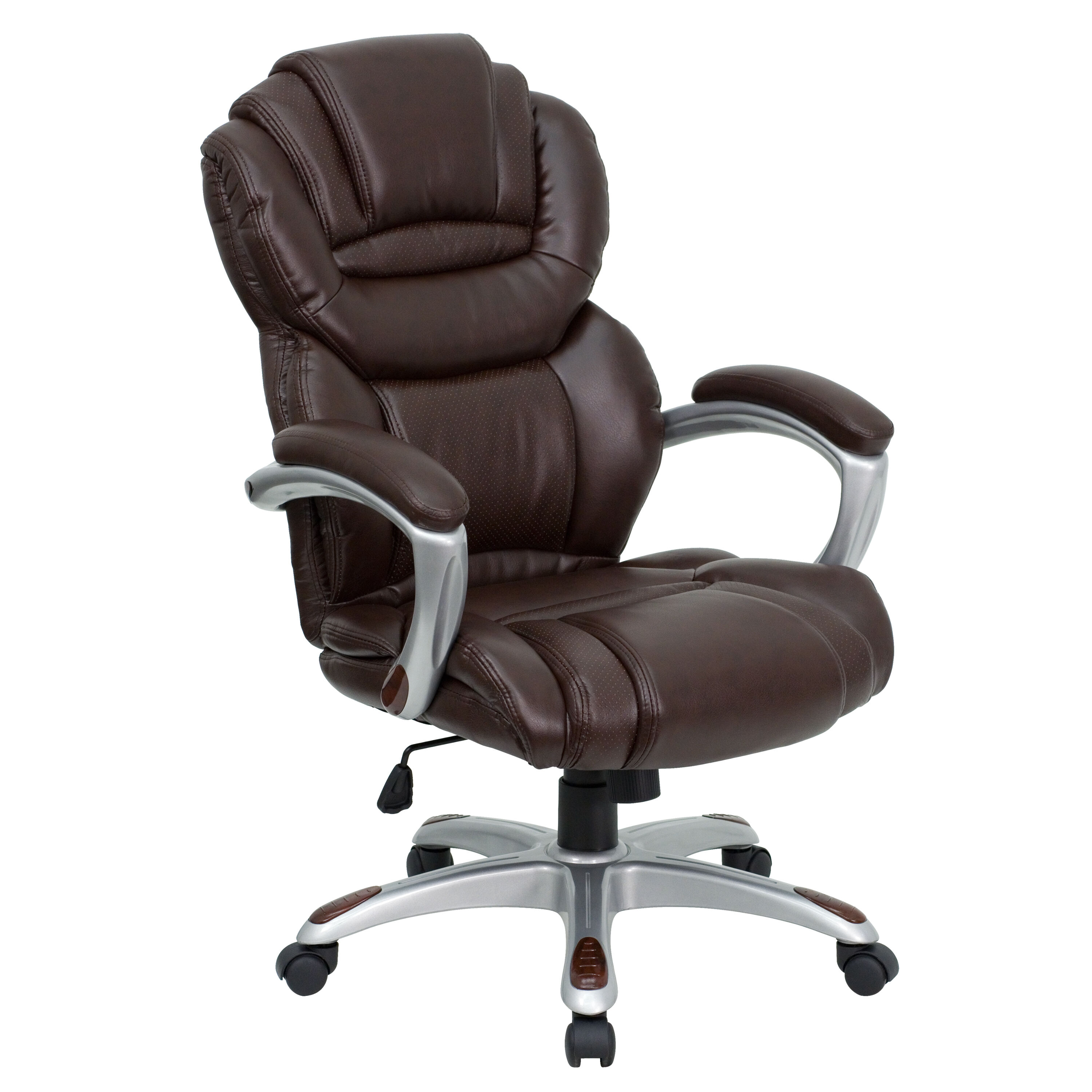 Awesome High Back Brown Leather Executive Swivel Chair With Arms