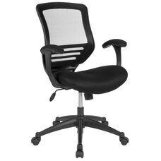 Mid-Back Black Mesh Executive Swivel Office Chair with Back Angle Adjustment, Molded Foam Seat and Curved Arms