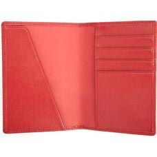 RFID Blocking Passport Document Wallet - Saffiano Genuine Leather - Red