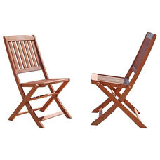 Malibu Outdoor Wood Folding Bistro Chairs - Set of 2