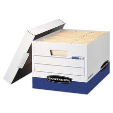 Bankers Box® R-KIVE Max Storage Box - Letter/Legal - Locking Lid - White/Blue - 4/Carton