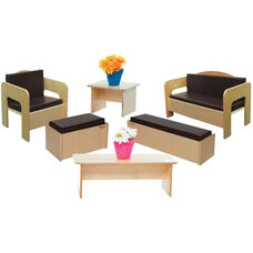 Wooden Kids 6 Piece Furniture Set with Brown Vinyl Cushions