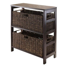 Granville 3-Pc Storage Shelf in Espresso with 2 Large Baskets