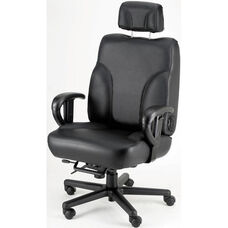 Backsaver Contoured Seat Office Chair with Adjustable Headrest - Leathermate