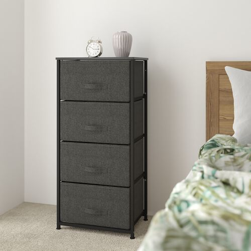 4 Drawer Tall Vertical Storage Unit Dresser, Organizer with steel frame, wood top and easy to pull fabric drawers - Black/Gray