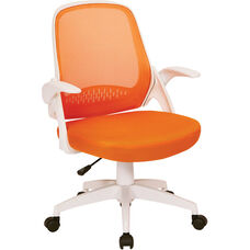 Ave Six Jackson Mesh Office Chair with White Frame and Flip Arms - Orange