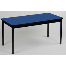 High Pressure Laminate Rectangular Library Table with Black Base and T-Mold - Blue Top - 36