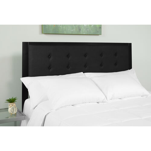Bristol Metal Tufted Upholstered King Size Headboard in Black Fabric