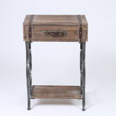 Square Accent Table with 1 Drawer and Wheel Design Side Metal Frame