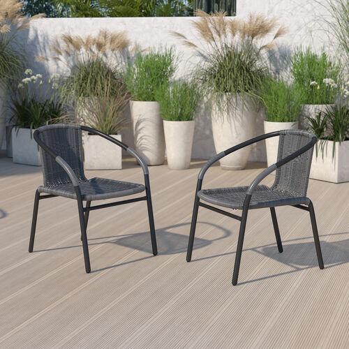 2 Pack Gray Rattan Indoor-Outdoor Restaurant Stack Chair