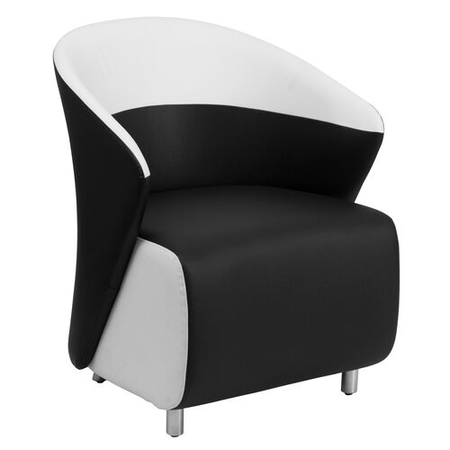Our Black Leather Curved Barrel Back Lounge Chair with Melrose White Detailing is on sale now.