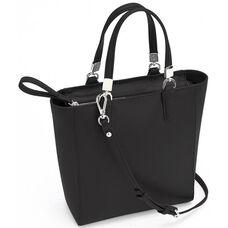 RFID Blocking Mini Tote Cross Body Bag - Saffiano Genuine Leather - Black