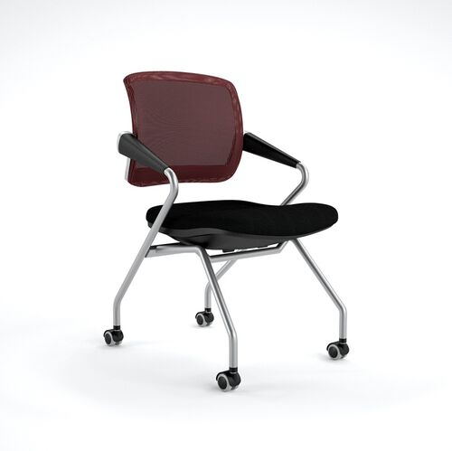 Our Valore Mid-Back Training Chair with Black Fabric Seat - Set of 2 - Red Mesh Back is on sale now.