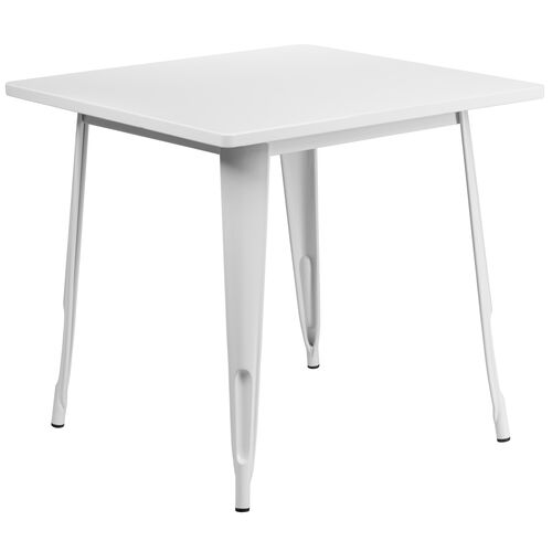 "Our Commercial Grade 31.5"" Square White Metal Indoor-Outdoor Table is on sale now."