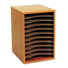 Safco® Wood Vertical Desktop Sorter - 11 Sections 10 5/8 x 11 7/8 x 16 - Medium Oak