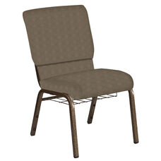Embroidered 18.5''W Church Chair in Illusion Chic Gray Fabric with Book Rack - Gold Vein Frame
