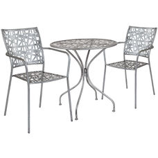 "Agostina Series 27.5"" Round Antique Silver Indoor-Outdoor Steel Patio Table with 2 Stack Chairs"