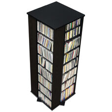 4-Sided Spinning Tower with 28 Adjustable Shelves - Black