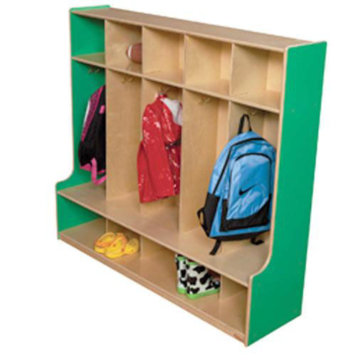 Green Apple 5-Section Seat Locker with Two Coat Hooks in Each Section - Assembled - 54