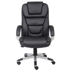 High Back Executive LeatherPLUS Chair with Padded Arms - Black