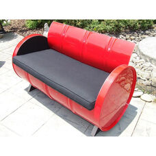 Red Loft Steel Drum Loveseat with Black Accents