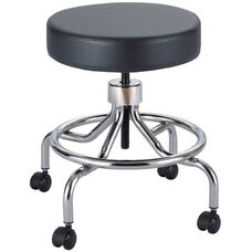 17'' H Adjustable Height Industrial Low Base Lab Stool with Screw Lift - Black