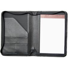 Zip Around Junior Writing Padfolio- Top Grain Nappa Leather - Black