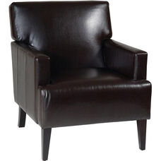 Ave Six Carrington Eco Leather Upholstered Arm Chair with Solid Wood Legs - Espresso