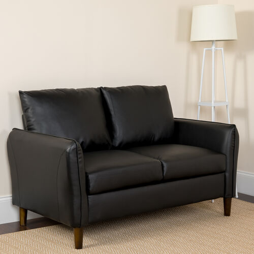 Our Milton Park Upholstered Plush Pillow Back Loveseat in Black LeatherSoft is on sale now.