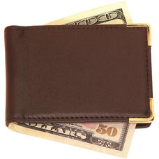 Large Magnetic Money Clip - Top Grain Nappa Leather with Suede Lining - Coco