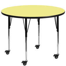 Mobile 60'' Round Yellow Thermal Laminate Activity Table - Standard Height Adjustable Legs