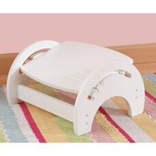 Wooden Adjustable Stool for Nursing with Anti-slip Pads on the Base - White