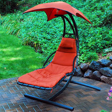 Cloud 9 Hanging Chaise Lounge Chair with Black Frame and Removable Pad - Burnt Orange
