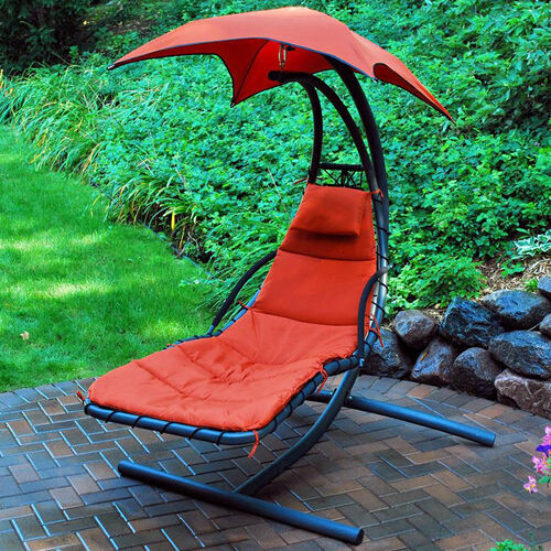 Our Cloud 9 Hanging Chaise Lounge Chair with Black Frame and Removable Pad - Burnt Orange is on sale now.