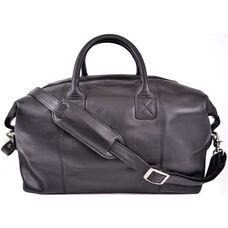 Petite Euro Traveler Bag with Shoulder Strap - Milano Top Grain Leather - Black