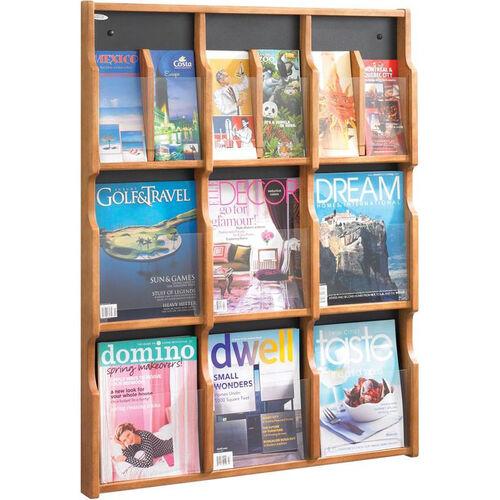 Expose™ Nine Magazine Eighteen Pamphlet Display with Plastic Front Panel - Medium Oak