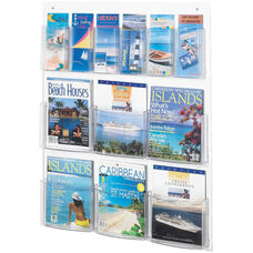 Clear2c™ Six Magazine and Six Pamphlet Display with Break Resistant Plastic Pockets - Clear