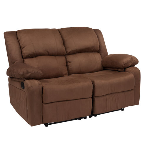 Our Harmony Series Chocolate Brown Microfiber Loveseat with Two Built-In Recliners is on sale now.