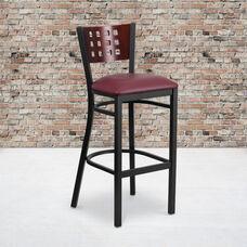 Black Decorative Cutout Back Metal Restaurant Barstool with Mahogany Wood Back & Burgundy Vinyl Seat