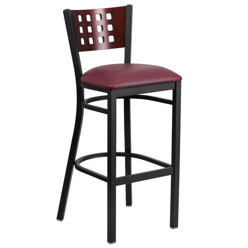 Our Black Decorative Cutout Back Metal Restaurant Barstool with Mahogany Wood Back & Burgundy Vinyl Seat is on sale now.