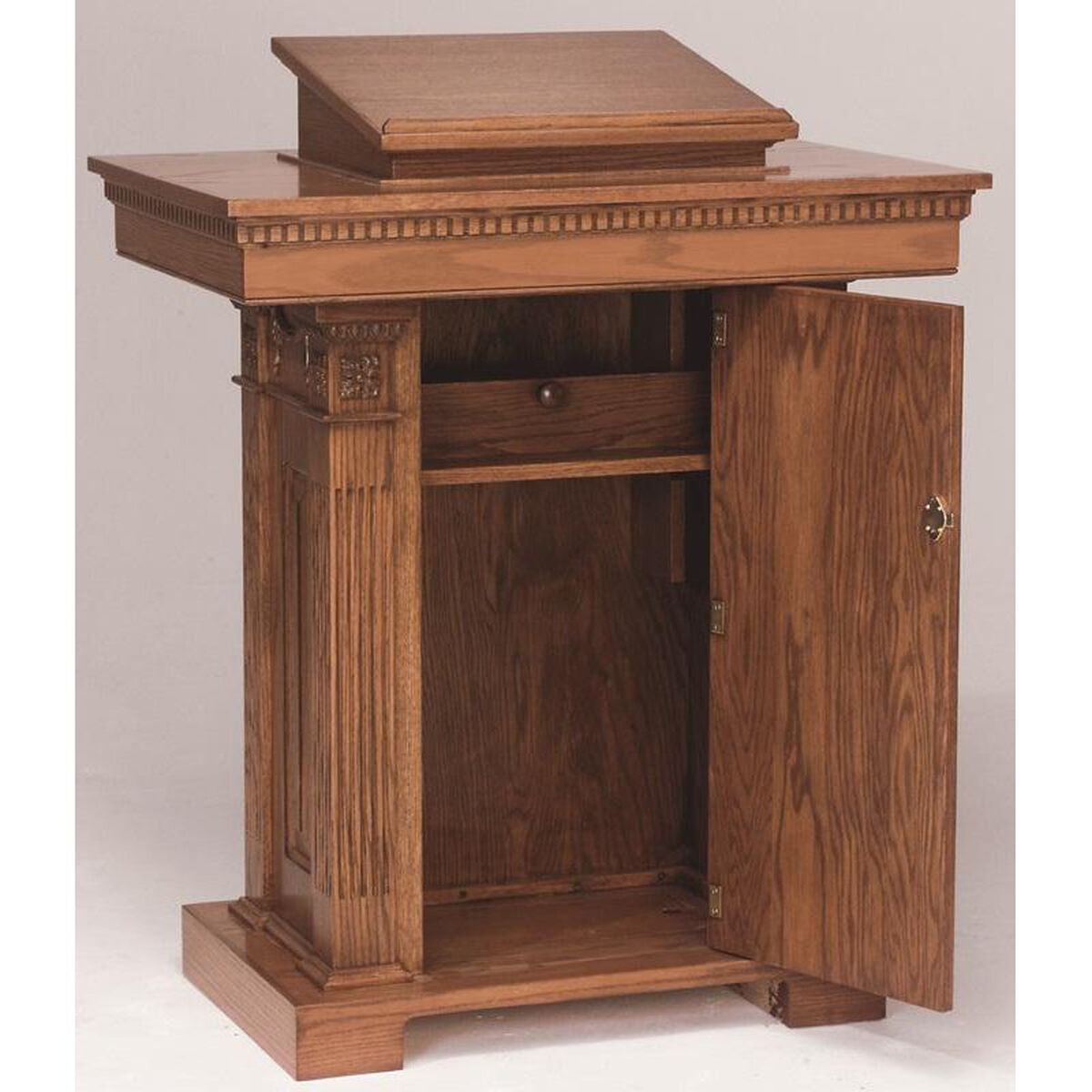 Our Stained Red Oak Pedestal Pulpit With Adjule Rest Is On Now