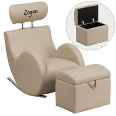 Personalized HERCULES Series Beige Vinyl Rocking Chair with Storage Ottoman