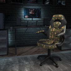 BlackArc Black Gaming Desk and Camouflage/Black Racing Chair Set with Cup Holder, Headphone Hook, and Monitor/Smartphone Stand